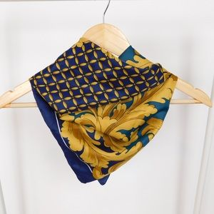 Navy and Gold Rolled Hem Square Scarf